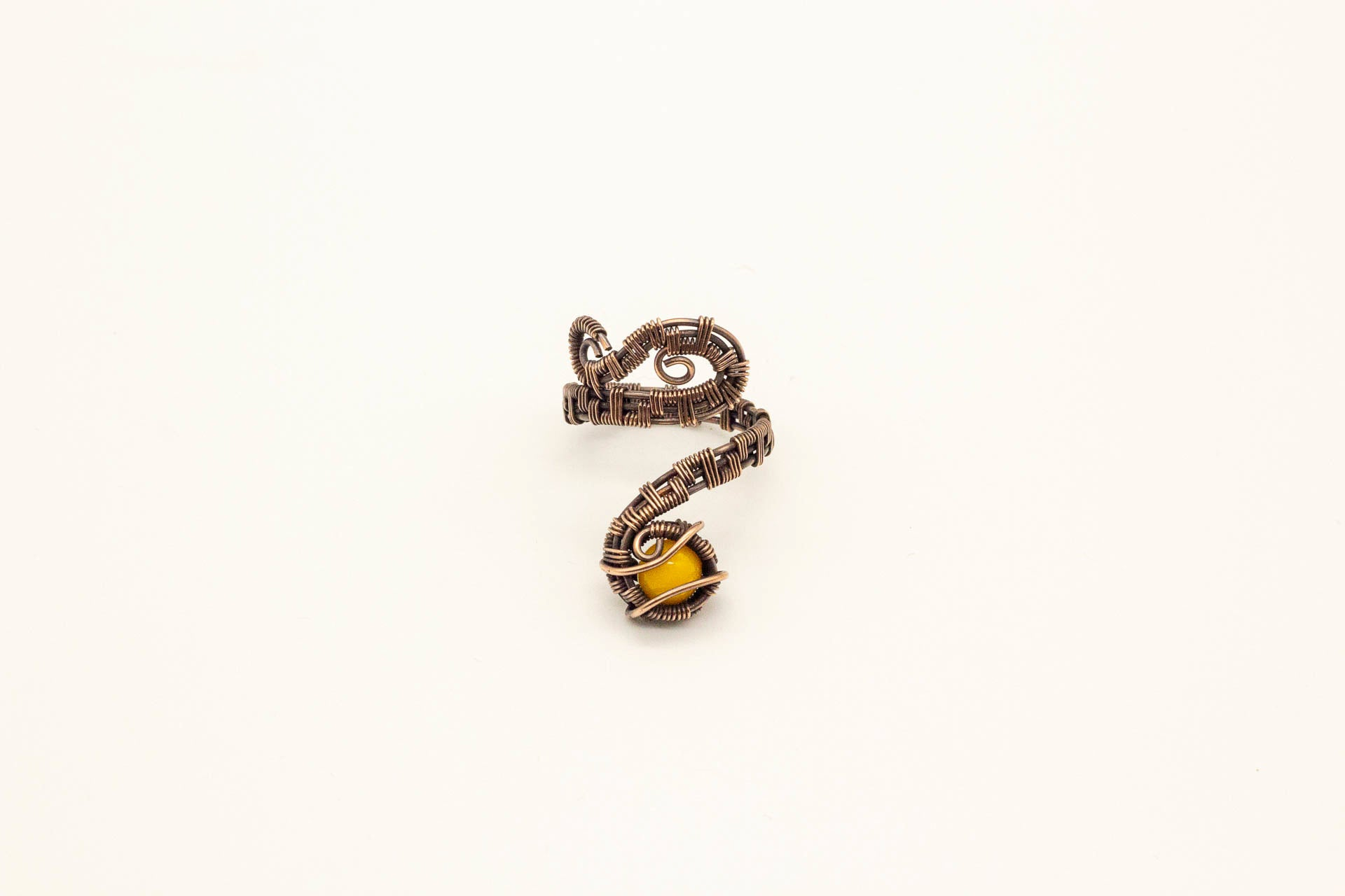 bright-yellow-fused-glass-copper-adjustable-ring-nymph-in-the-woods-jewelry