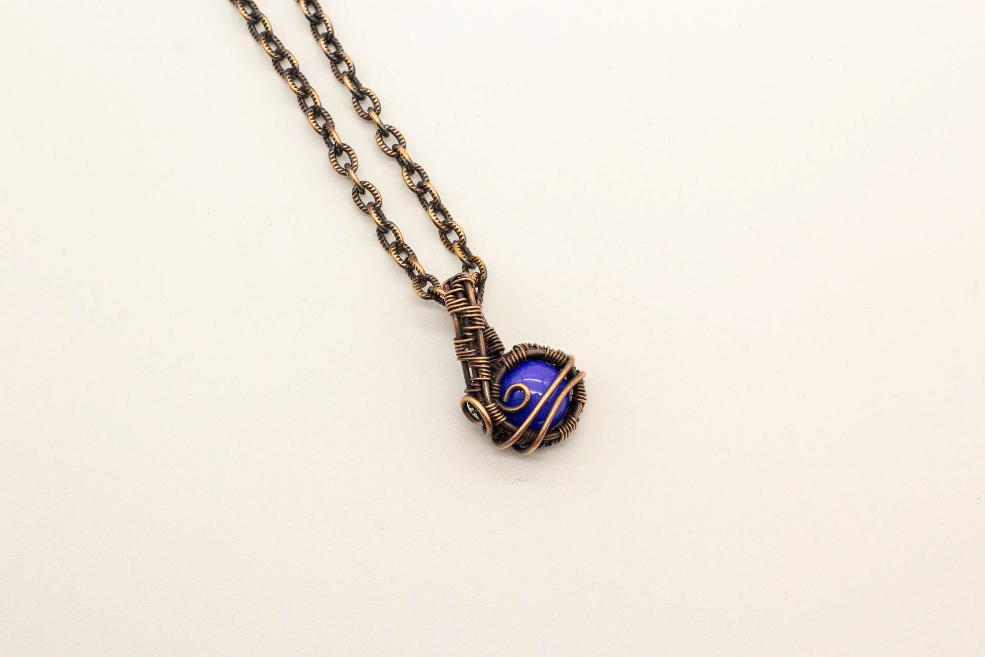 blue-fused-glass-mini-pendant-copper-wire-wrapping-nymph-in-the-woods-jewelry