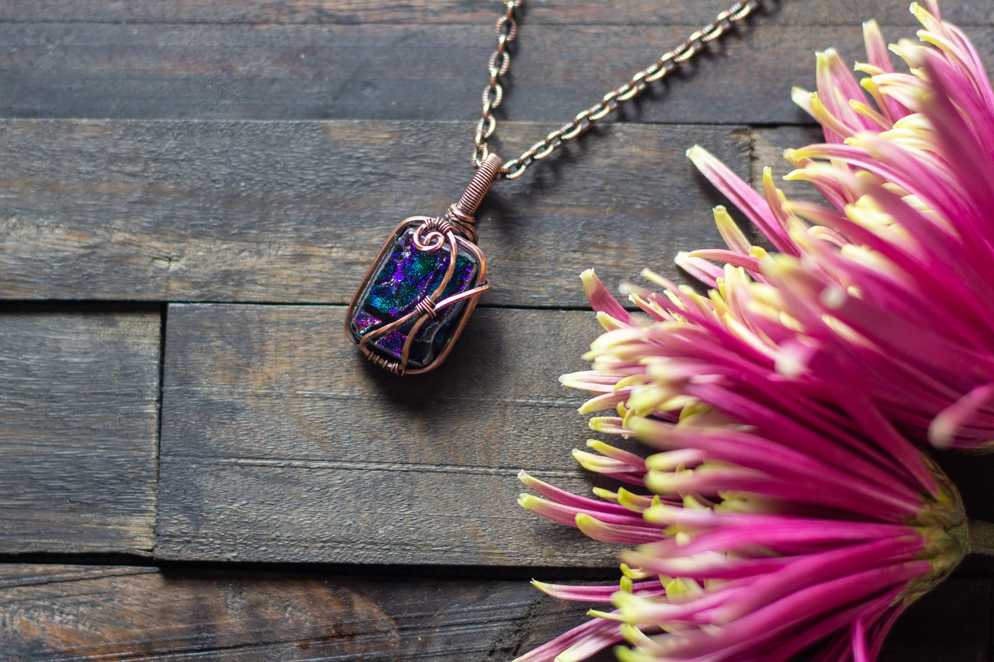 Shades of Green and Purple Dichroic Glass Pendant with Copper Wire Wrapping