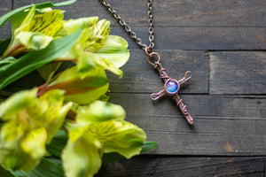Woven Copper Cross with Blue and Purple Fused Glass Accent