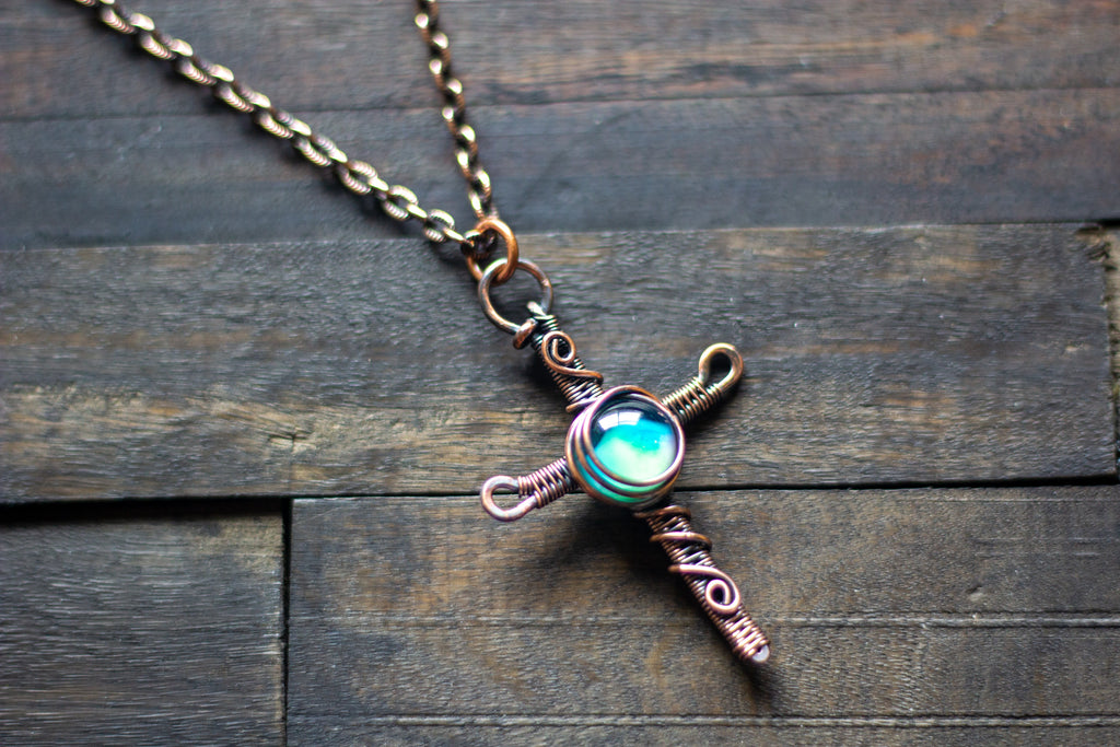 Woven Copper Cross with Light Blue Fused Glass Accent