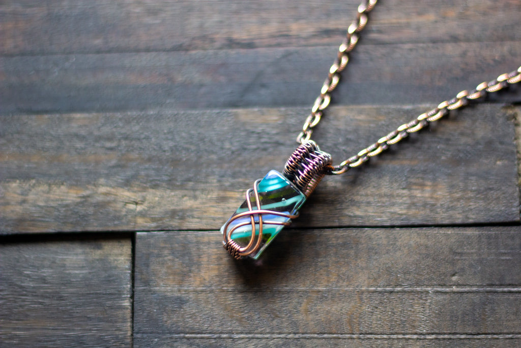 Striped Green and Blue Crisscross Copper Wire Wrapped Pendant