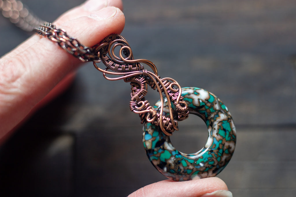 Copper Wire Pendant with Aqua, White, and Grey Fused Glass Ring