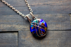 Copper Crisscross Pendant with Multi-colored Fused Glass
