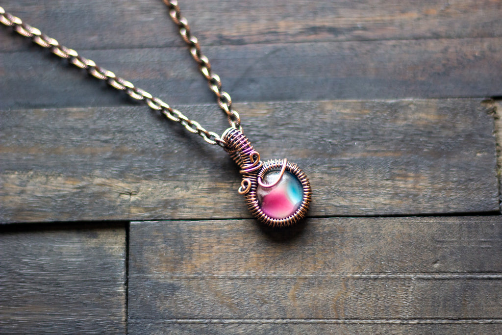 Deep Pink and Aqua Fused Glass Mini Pendant with Copper Wire Wrapping