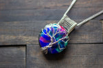 Sterling Silver Tree of Life Pendant with Multi-colored Fused Glass