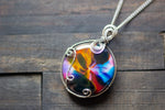 Multi-colored Fused Glass Statement Pendant with Sterling Silver Wire Wrapping