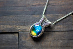 Dichroic Blue and Yellow Fused Glass Pendant with Sterling Silver Wire Wrapping