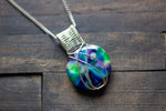 Green, Purple, and Blues Crisscross Sterling Silver Wire Wrapped Pendant