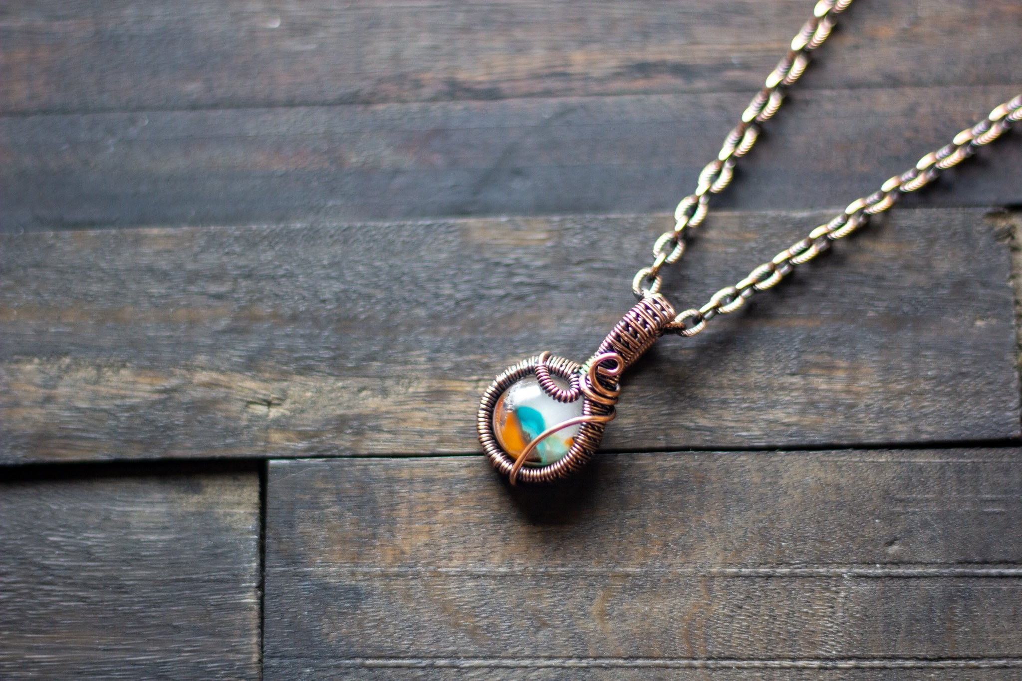 Teal, Orange and Cream Fused Glass Mini Pendant with Copper Wire Wrapping