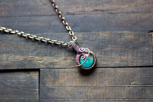 Bright Light Blue Fused Glass Mini Pendant with Copper Wire Wrapping
