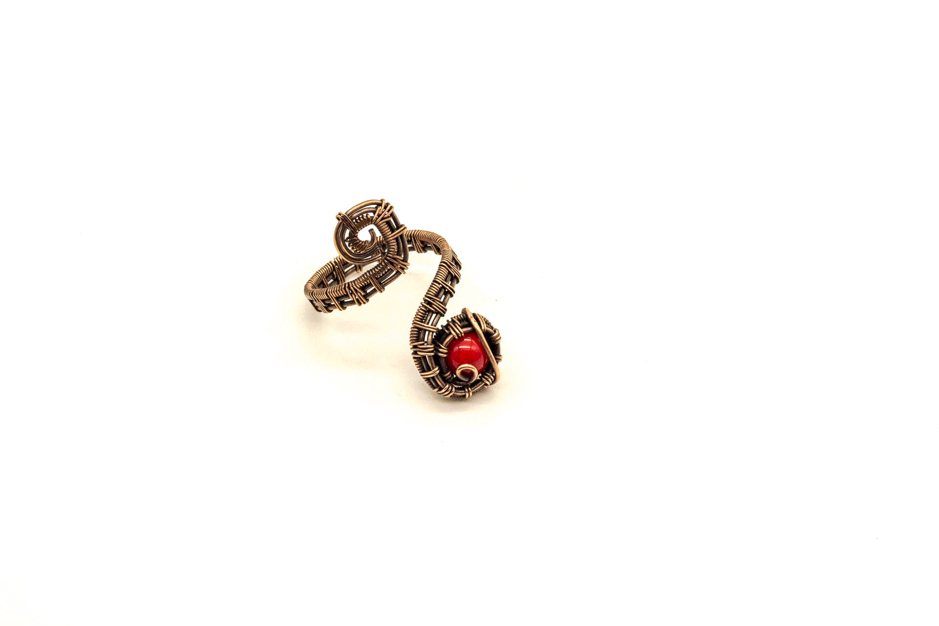 bright-red-fused-glass-copper-adjustable-ring-nymph-in-the-woods-jewelry