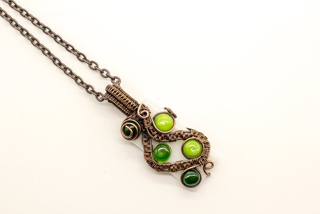 multi-shade-green-dots-fused-glass-pendant-copper-wire-wrapping-nymph-in-the-woods-jewelry