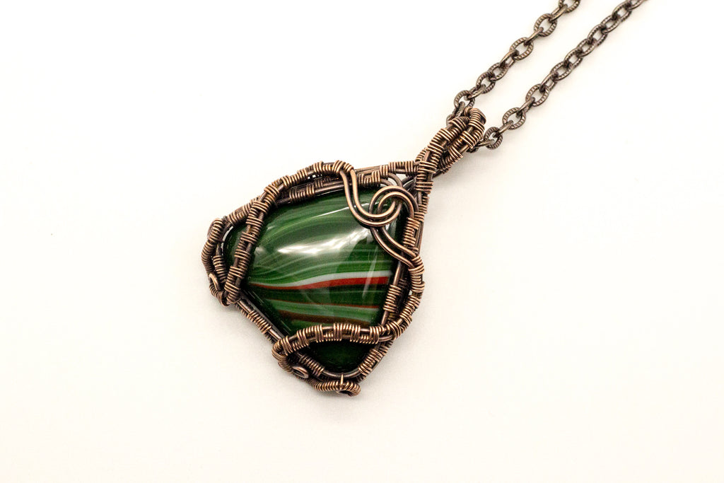 streaked-green-red-fused-glass-copper-wire-wrapping-nymph-in-the-woods-jewelry