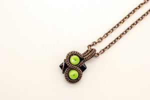 bright-green-black-fused-glass-mini-pendant-copper-wire-wrapping-nymph-in-the-woods-jewelry