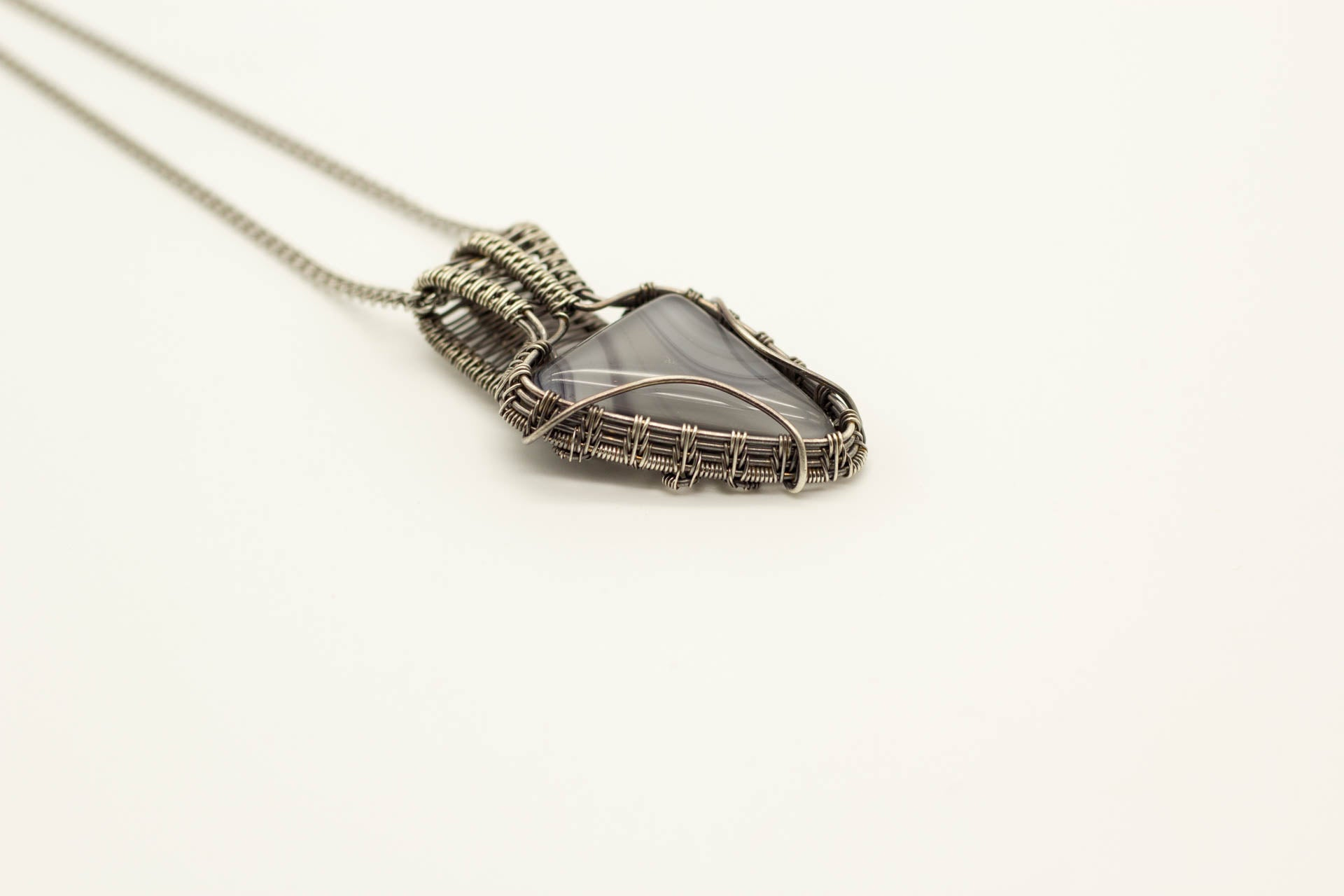 streaked-grey-fused-glass-sterling-silver-wire-wrapped-pendant-nymph-in-the-woods-jewelry