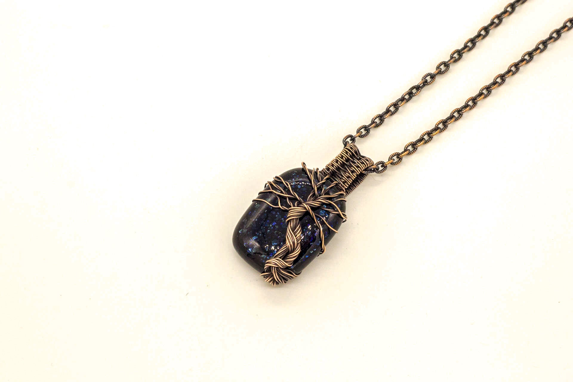 copper-wire-wrapped-tree-of-life-pendant-blue-glitter-dichroic-fused-glass-nymph-in-the-woods-jewelry