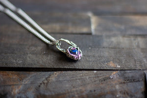 Sterling Silver Mini Pendant with Deep Blue Fused Glass Accent