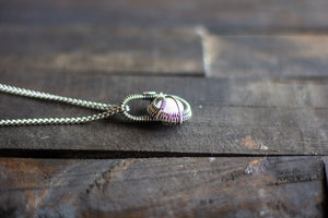 Sterling Silver Mini Pendant with Iridescent White Fused Glass Accent