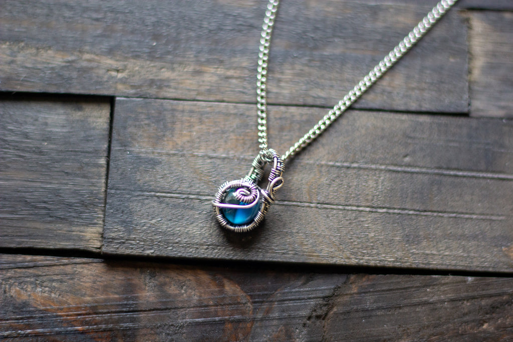 Sterling Silver Mini Pendant with Blue Fused Glass Accent