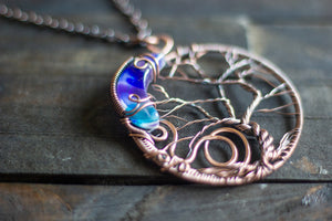 Blue and Purple Moon and Tree Pendant with Copper Wire Wrapping