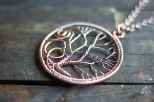 Circular Tree of Life Copper Pendant