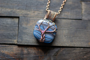Streaked Blue and Grey Fused Glass and Copper Wire Wrapped Tree of Life Pendant