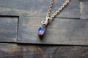 Blue and Lavender Fused Glass Teardrop Pendant with Copper Wire Wrapping