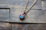 Icy Blue Fused Glass Mini Pendant with Copper Wire Wrapping