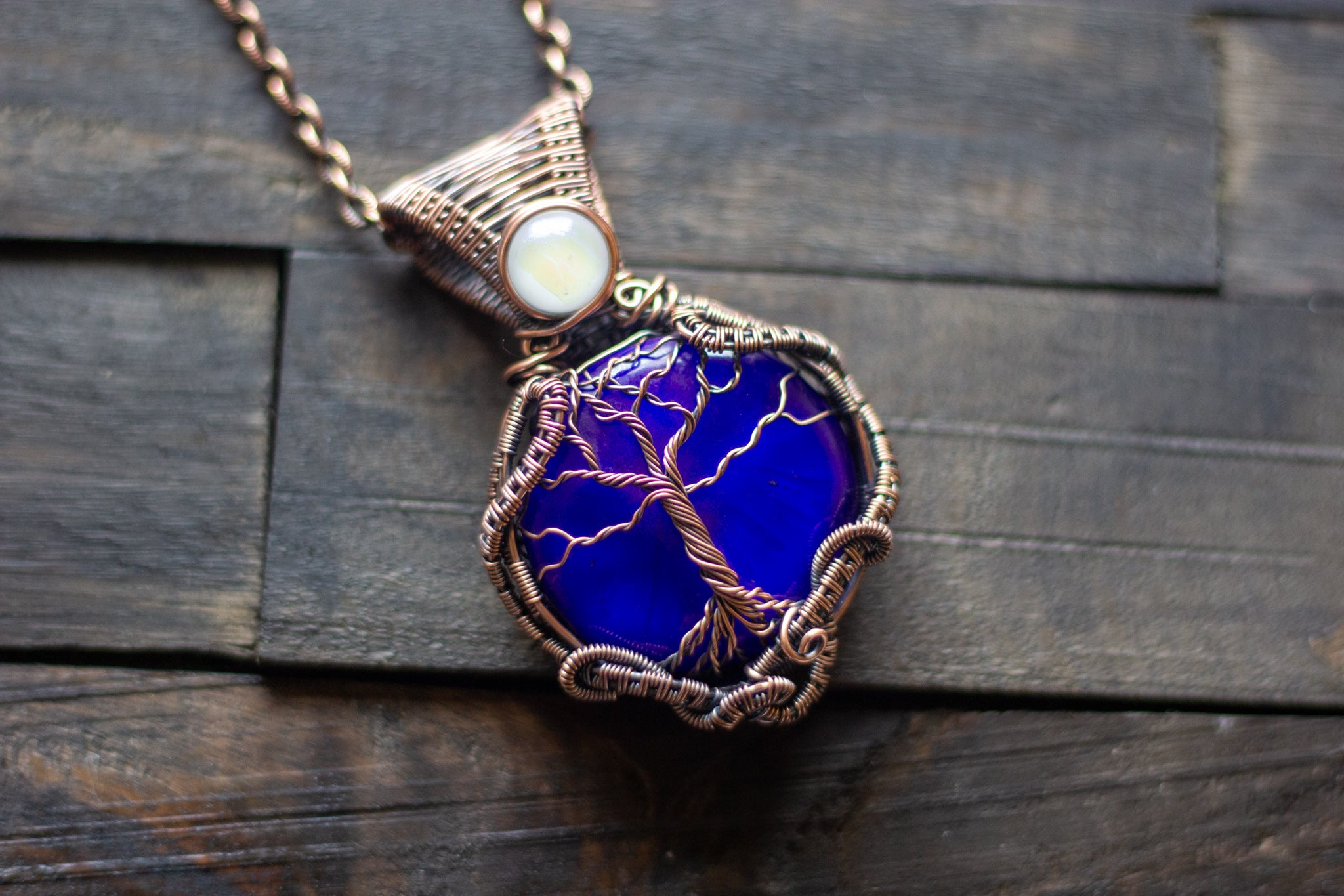 Deep Blue Fused Glass and Copper Wire Wrapped Tree of Life Pendant