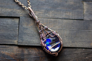 Shades of Blue and White Statement Copper Pendant