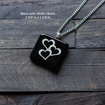 Fused Glass Pendants with Heart Silk Screen Decals