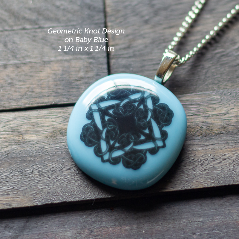 Fused Glass Pendant with Geometric Silk Screen Decals
