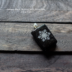 Fused Glass Pendants with Snowflake Silk Screen Decals