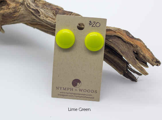 lime green fused glass stud earrings