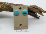 streaked teal and grey fused glass stud earrings