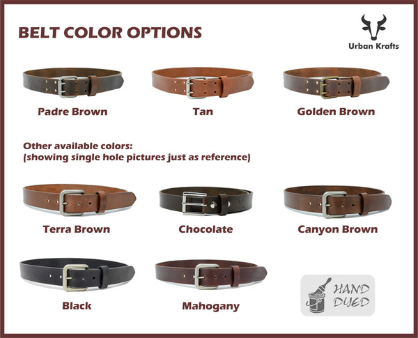 Hand Dyed Full Grain Leather Belt for Men with Double Tongue Buckle