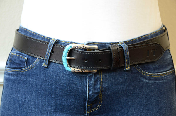 Women Black Full Grain Leather Belt with Stitching (Turquoise Buckle)