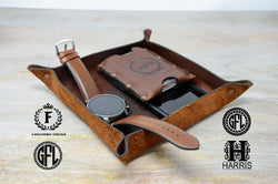 Leather valet tray for men women. Engraved Leather Catchall Tray