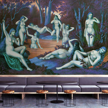 Load image into Gallery viewer, Wall Mural lifestyle image of the Nine Muses from Grecian Myth in Green & Blue, printed on wallpaper. Custom options available.