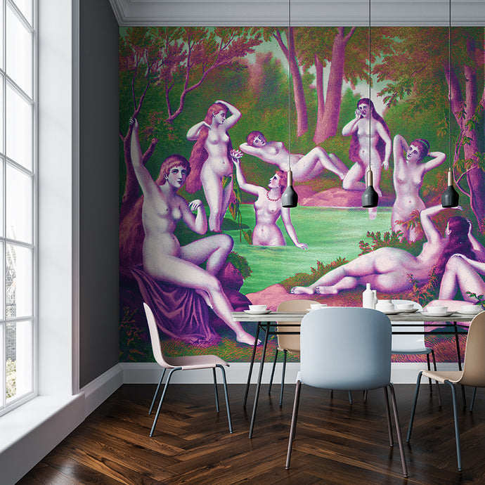 Wall Mural lifestyle image of the Nine Muses from Grecian Myth in Pink & Green, printed on wallpaper. Custom options available.