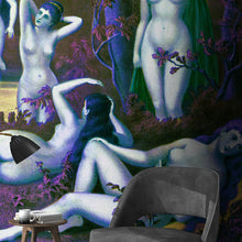 Load image into Gallery viewer, Wall Mural lifestyle image of the Nine Muses from Grecian Myth in Purple & Green, printed on wallpaper. Custom options available.