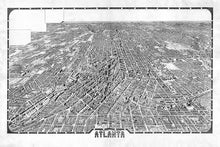Load image into Gallery viewer, Wall Mural lifestyle of Bird's eye view of Atlanta in black and white, printed on wallpaper. Custom options available.