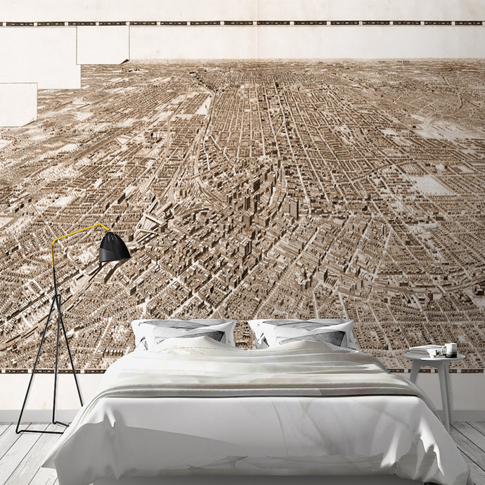Wall Mural lifestyle image of Bird's eye view of Atlanta in sepia, printed on wallpaper. Custom options available.