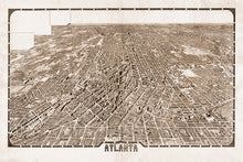Load image into Gallery viewer, Wall Mural lifestyle of Bird's eye view of Atlanta in sepia, printed on wallpaper. Custom options available.