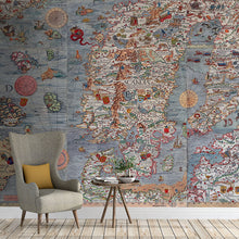 Load image into Gallery viewer, Ancient Map Mural of land, oceans, and sea monsters in full color, printed on wallpaper. Custom options available.