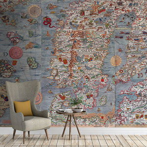 Ancient Map Mural of land, oceans, and sea monsters in full color, printed on wallpaper. Custom options available.