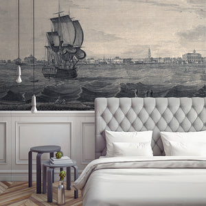 Wall Mural lifestyle image of Charleston South Carolina in Grey & Cream colors, printed on wallpaper. Custom options available.