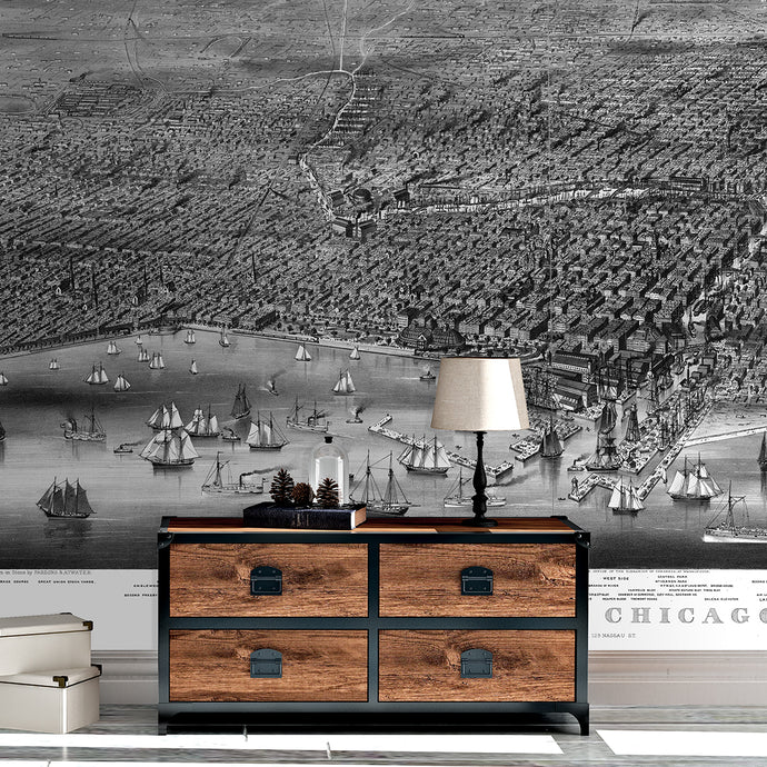 Wall Mural lifestyle image of Chicago Illinois in Black & White color, printed on wallpaper. Custom options available.