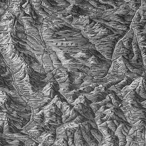 Wall Mural lifestyle image of Colorado Topography in Black & White color, printed on wallpaper. Custom options available.